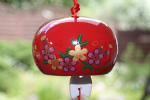 Ceramic Wind Chime, Red Flower, 7cm